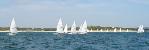 Doug Peckover leads the boats that took the left of the course.