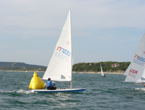 Scott Young in 3rd at the first windward mark