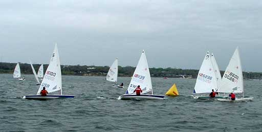More radials rounding the weather mark in the first race
