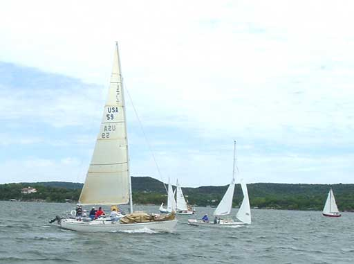 Ray Schull in his J/29 before the start of the first race.