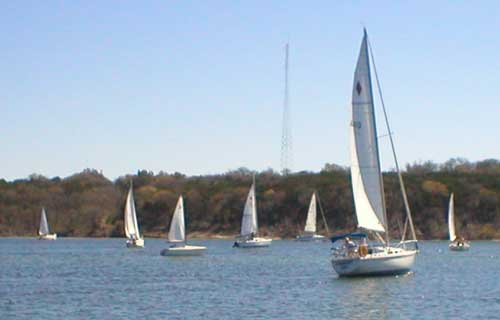 Boats gather at the starting line